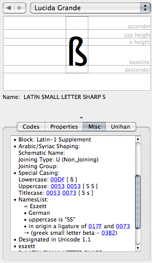 Misc tab with NamesList information on the ß letter displayed (= Eszett; German; uppercase is 'SS', in origin a ligature of ſ and s, also see greek small letter beta