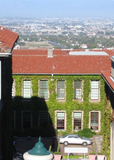 Looking onto the city over the roof of the UCT maths department