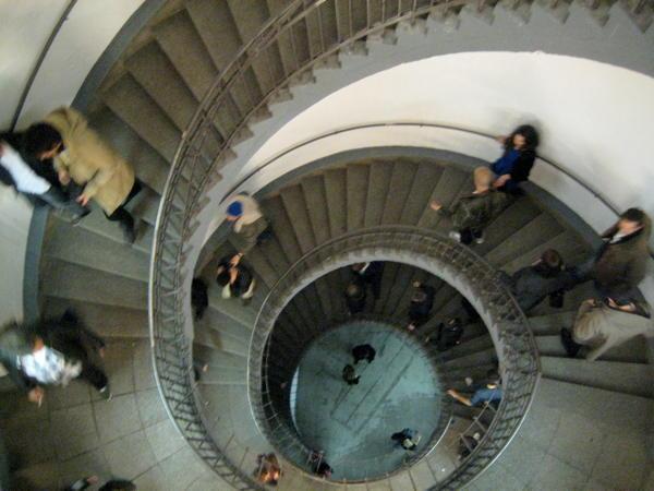 People leaving Uebel & Gefährlich down the stairs