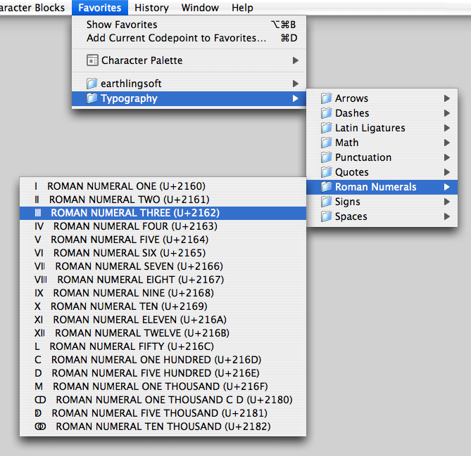 Unicode Checker Favorites Menu