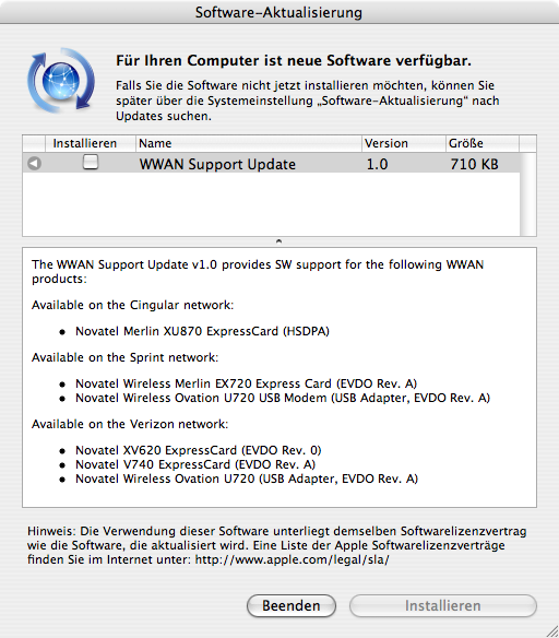 WWAN Update offered by Software Update