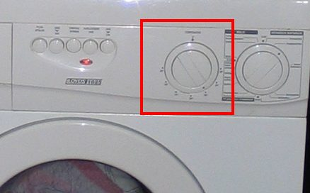 Switches and dials on the washing machine