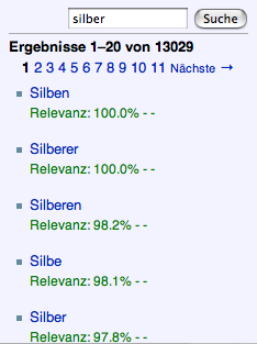 Screenshot of German Wikipedia search results for 'Silber'