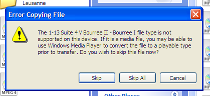 Windows claiming that a file is not supported on the device
