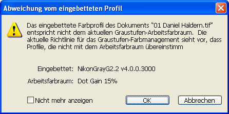 German Photoshop colour management dialogue on Windows.