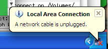 Windows bubble telling me a network cable has been disconnected