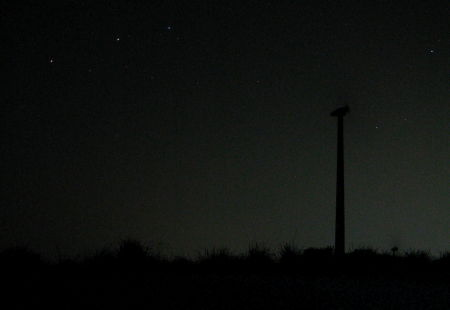 Wind power generator at night