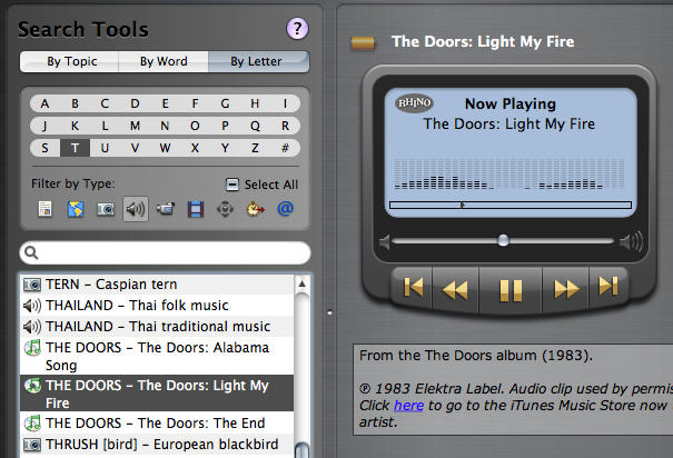 Part of WorldBook window displaying a music player and iTMS link