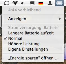 Battery Menu in X.4