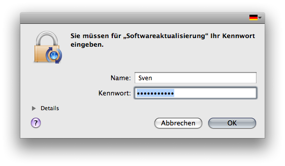 Authentication window in Mac OS X.5