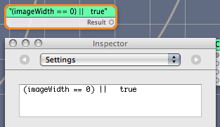 Quartz Composer screenshot showing a Maths expression with a superfluous variable that doesn't appear as an input.