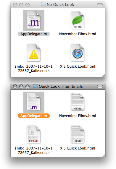 Comparing the same folder with and without Quick Look generated icons for its files