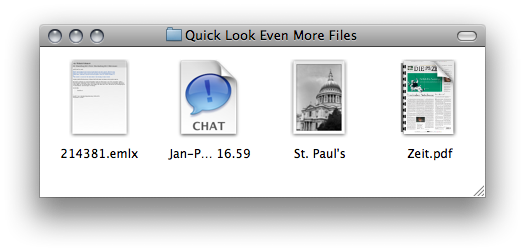 More Quick Look thumbnails: An E-Mail, an iChat, a photo and another PDF