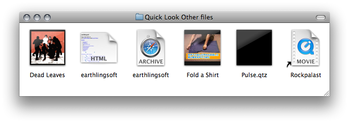 Quick Look thumbnails for HTML, Web Archive, MP3, QuickTime, Quartz Composer and Alias files displayed in the Finder