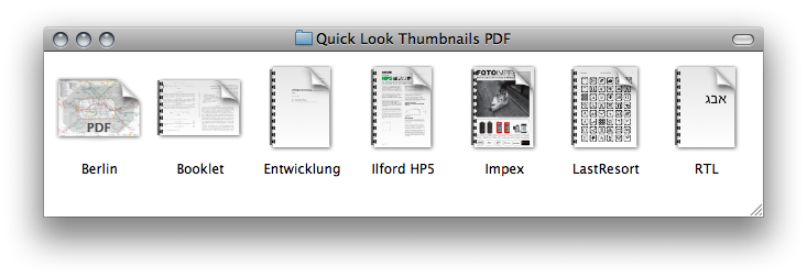 A number of PDF thumbnails in the Finder