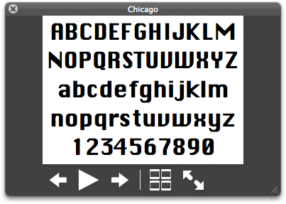Preview display for the Chicago font