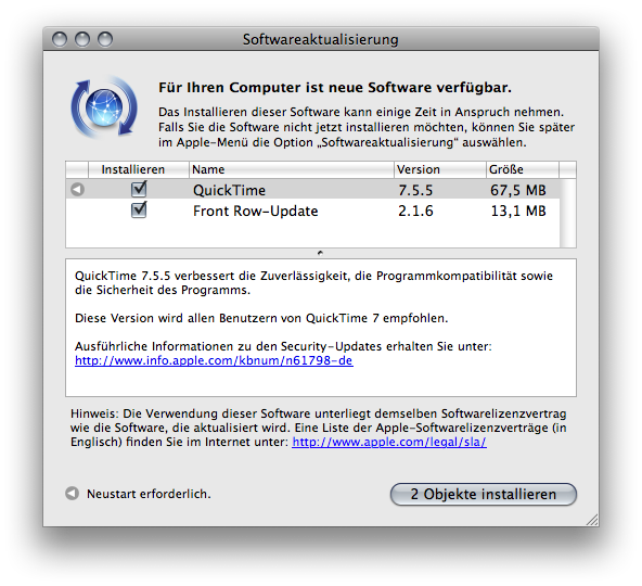 Mac OS X.5 Software update window listing the available updates