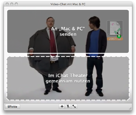 Dragging a file to a video chat in iChat 4