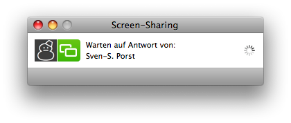 iChat 'progress' window for establishing a screen sharing connection.