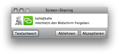 iChat window telling  that there's an invitation to share a screen.