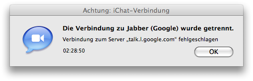 iChat disconnection meesage