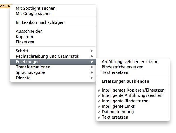 Contextual menu for text substitution