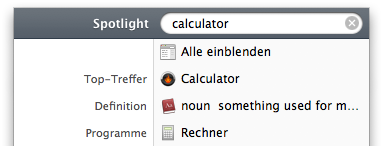 Spotlight finding Rechner.app for the search term calculator
