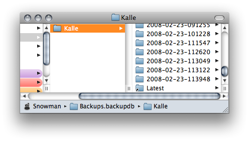 Finder Window at the location of the Time Machine backup folder