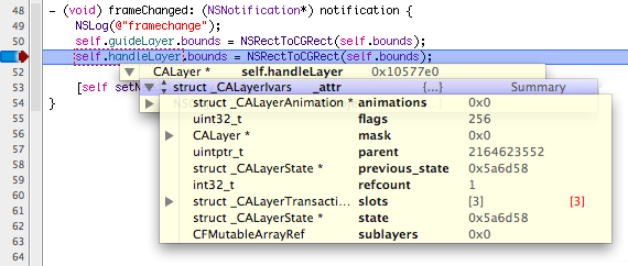 XCode displaying variable information when hoving over them in code while debugging