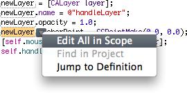 Refactoring in XCode 3's editor