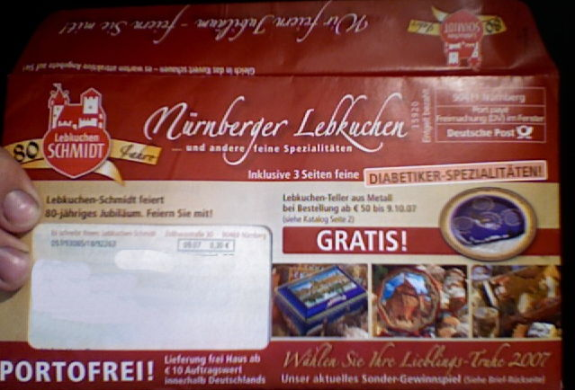 Envelope with Lebkuchen brochure