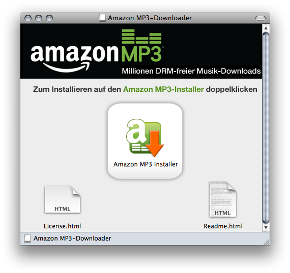 Disk image containing the amazon downloader installer application