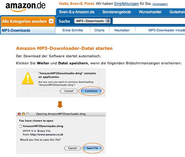 Amazon MP3 downloader download page on amazon.de