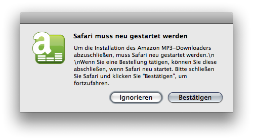 Dialogue box displayed by amazon Downloader Installer