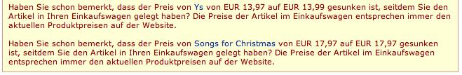 Amazon.de price change notification
