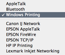 Selecting Windows Printing