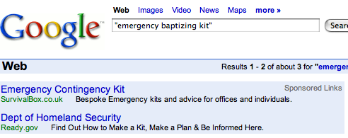 Google search for 'Emergency Baptizing Kit'