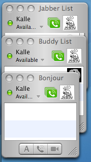 iChat contact list windows with different widths