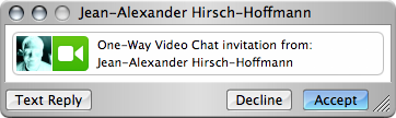 iChat one way video chat invitation