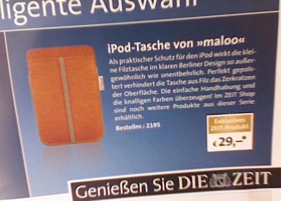 Ad for a Cheapo iPod Bag priced at 30 Euros