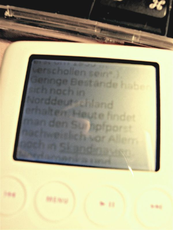 The iPod running German Wikipedia and displaying the entry for 'Porst'