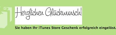 'Herzlichen Glückwunsch' displayed by the iTunes Music Store