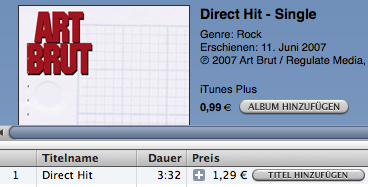 Art Brut Direct Hit single in iTunes' Store browser