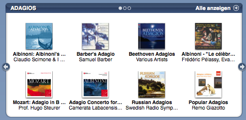 Adagios section in the iTMS classical music section