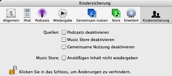 iTunes 4 parental controls