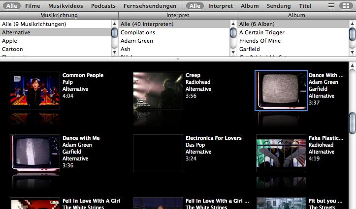 iTunes 6 video thumbnails
