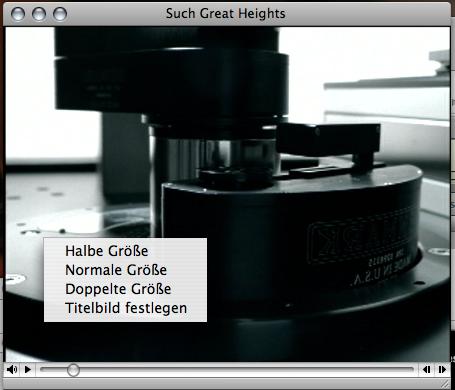 Contextual menu in iTunes' video window