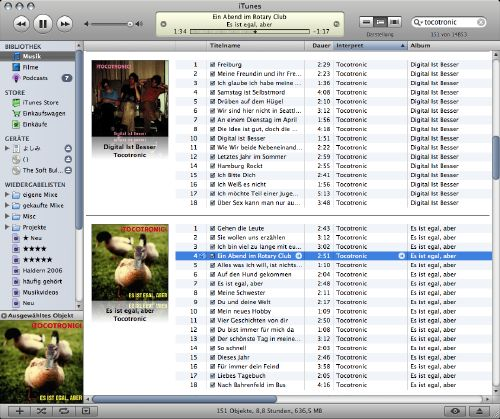 iTunes in album view mode for some Tocotronic albums