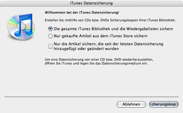 Dialogue for iTunes 7's backup feature