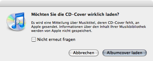 iTunes 7 dialogue telling you about iTunes contacting Apple's servers